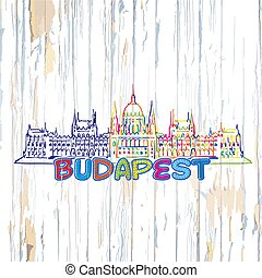 Colorful Budapest drawing on wooden background. Hand-drawn...
