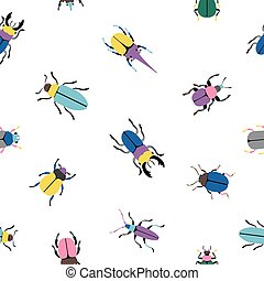 Colorful bugs seamless pattern