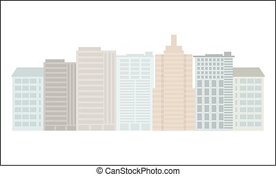 Colorful Building and City, Urban cityscape. Flat style vector.