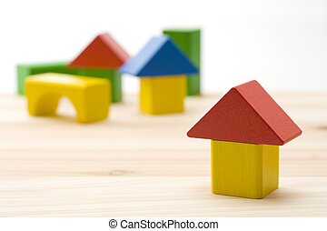 Colorful building block house