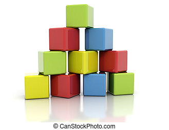 Colorful building blocks stacked as pyramid. Isolated on white