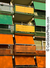 Colorful building - Closeup of a colorful housing buidling