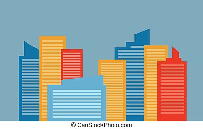 Colorful building design vector flat