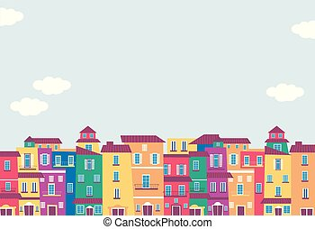 Colorful Building Houses Background Illustration