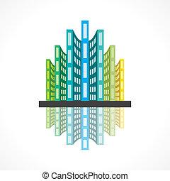 colorful building icon vector