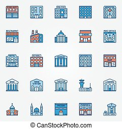 Colorful building icons set. Vector flat government...