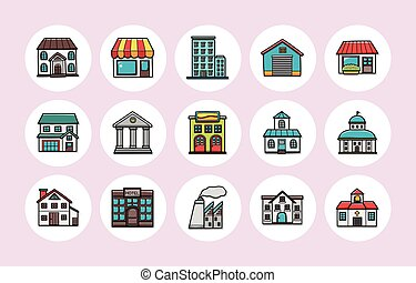 Colorful building icons set,eps10