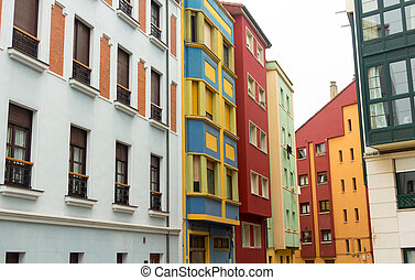 colorful building in the city of Gijon, Spain