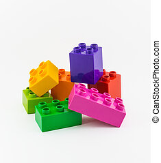Colorful Building plastic toy Blocks Isolated On White