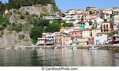 colorful buildings and castle Parga Greece