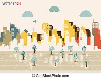 Colorful buildings design. Vector illustration.