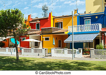 Colorful buildings in italian street