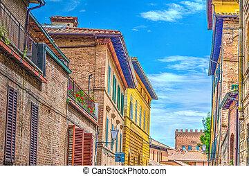 Colorful buildings in Siena