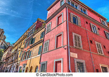Colorful buildings in Trastevere