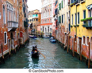 Colorful Buildings on a canal in Venice, Italy.