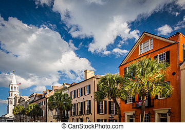 Colorful buildings on Broad Street in Charleston, South Carolina.