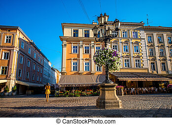 Colorful buildings on market square in Lviv city