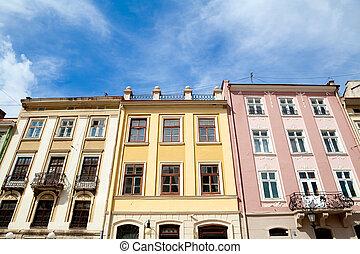 colorful buildings on Rynok Square in Lviv