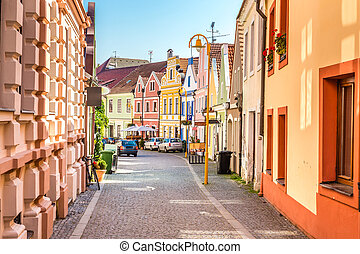 Colorful Buildings - Trebon, Czech Republic, Europe - ...