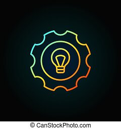 Colorful bulb in gear icon