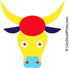 Colorful bull flat illustration on white
