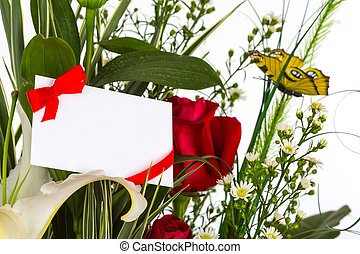 Colorful Bunch of flowers with card