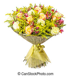 Colorful bunch of flowers with roses