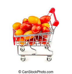 Colorful bunch of small grape tomatoes in shopping trolley isola