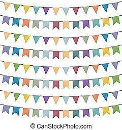 Colorful bunting and garland set isolated on white. Vector illustration