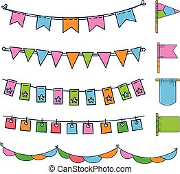 Colorful bunting, party flags, festival, birthday, holiday decoration vector illustration