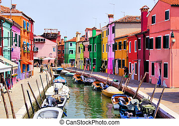 Colorful Burano, Venice - Colorful canal scene in Burano, ...