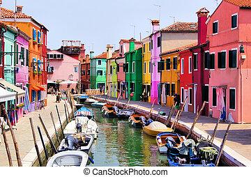 Colorful Burano, Venice - Colorful canal scene in Burano,...