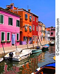 Colorful Burano, Venice - Vibrantly painted houses of...