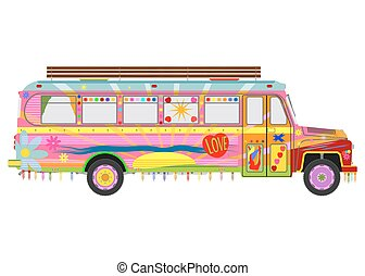 Colorful bus - Colorful hippie bus