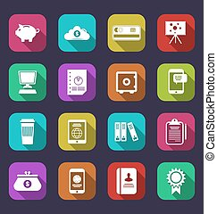 Colorful business and office objects, flat icons with long shadows