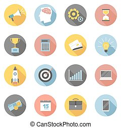Colorful business icons flat set