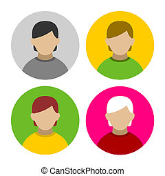 Colorful Businessman Userpics Icons Set in Flat Style. Vector