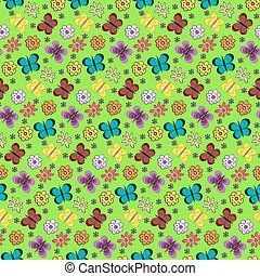 Colorful butterflies and flowers pattern