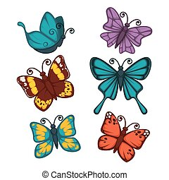 Colorful butterflies collection isolated on white vector poster