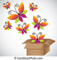 Colorful butterflies emerging from a cardboard box, vector illustration