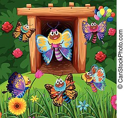 Colorful butterflies flying in garden