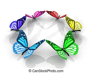 Colorful butterflies in a circle
