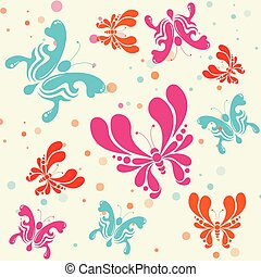 Colorful butterflies seamless pattern background - Vector Illustration.
