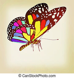 colorful butterfly. 3D illustration. Vintage style.