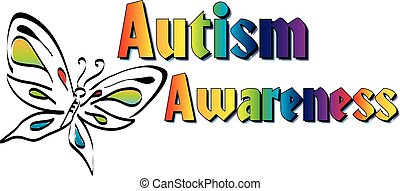 Autism Awareness Banner - Colorful Butterfly and Rainbow...