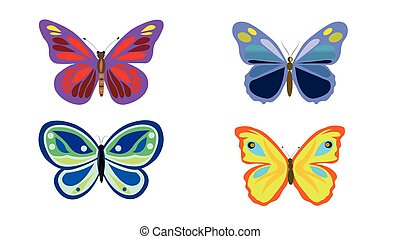 Colorful butterfly group isolated on background.