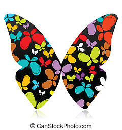 colorful butterfly - illustration of butterfly formed by ...