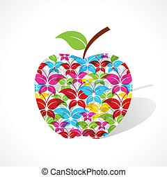 Colorful butterfly make a apple