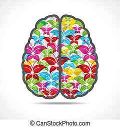 Colorful butterfly make a brain