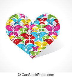Colorful butterfly make a heart